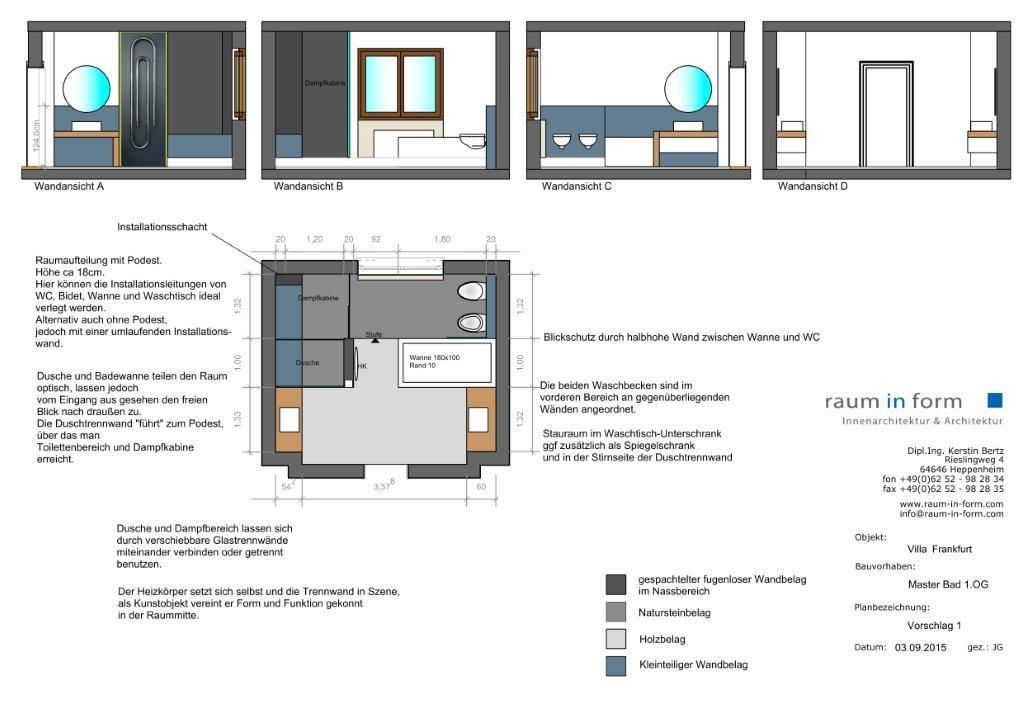 Great Konzeptplanung Raum In Form Innenarchitektur Architektur Kerstin Bertz  Villa Frankfurt 1 Bad EG 02.09.2015