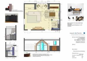Konzeptplanung Raum In Form Innenarchitektur Architektur Kerstin Bertz Maisonette Heidelberg 2 CAD 22.07.2015
